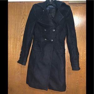 Zara military style black pea coat